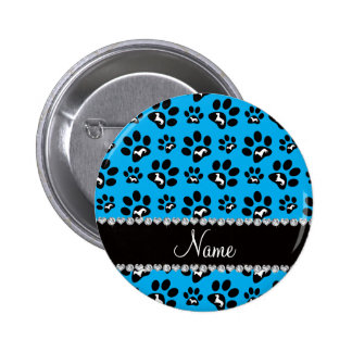 Personalized name sky blue dachshunds dog paws 6 cm round badge