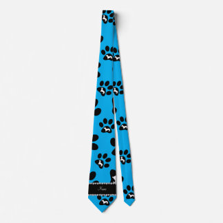 Personalized name sky blue dachshunds dog paws tie