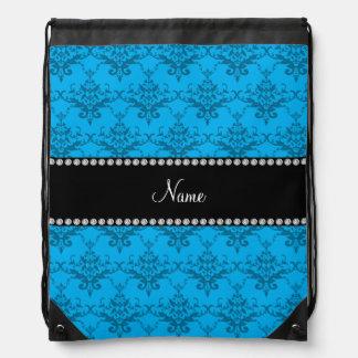 Personalized name sky blue damask drawstring bag
