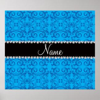 Personalized name sky blue damask swirls poster