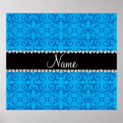 Personalized name sky blue damask swirls print