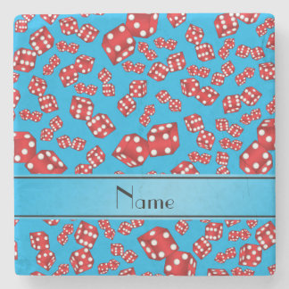 Personalized name sky blue dice pattern stone coaster