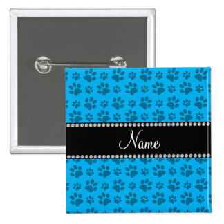 Personalized name sky blue dog paw prints 15 cm square badge