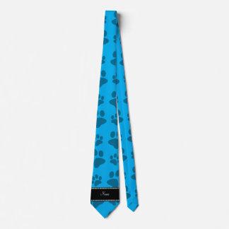 Personalized name sky blue dog paw prints tie