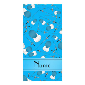 Personalized name sky blue fencing pattern photo card template