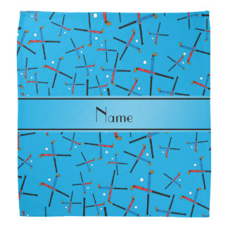 Personalized name sky blue field hockey pattern bandana