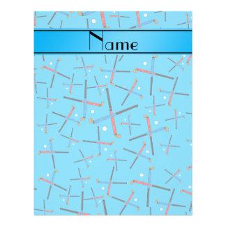 Personalized name sky blue field hockey pattern 21.5 cm x 28 cm flyer