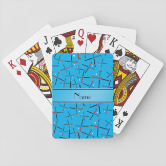 Personalized name sky blue field hockey pattern playing cards