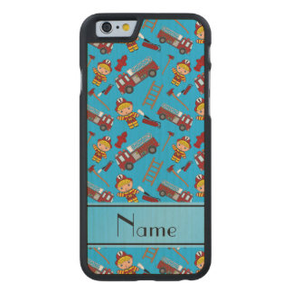 Personalized name sky blue firemen trucks ladders carved® maple iPhone 6 case