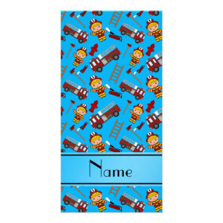 Personalized name sky blue firemen trucks ladders photo greeting card