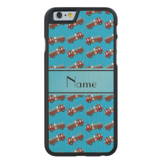 Personalized name sky blue firetrucks carved® maple iPhone 6 slim case
