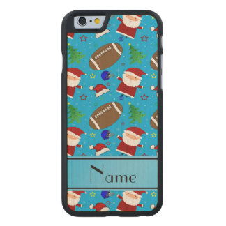 Personalized name sky blue football christmas carved® maple iPhone 6 slim case