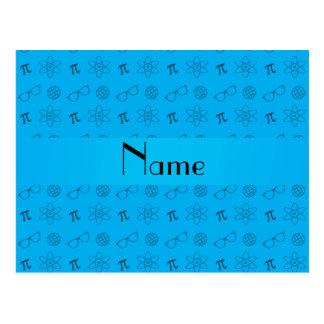 Personalized name sky blue geek pattern postcard