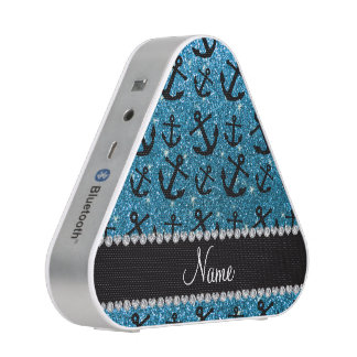 Personalized name sky blue glitter anchors