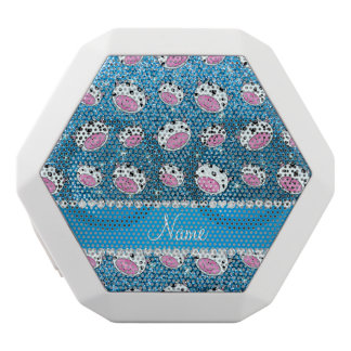 Personalized name sky blue glitter cow heads