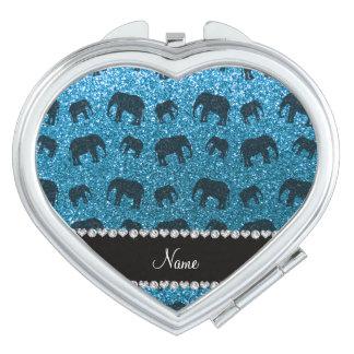 Personalized name sky blue glitter elephants travel mirror