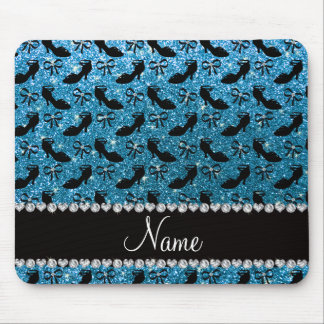 Personalized name sky blue glitter fancy shoes bow mouse pad