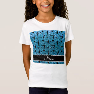 Personalized name sky blue glitter gymnastics T-Shirt
