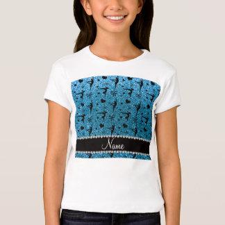Personalized name sky blue glitter gymnastics tshirt