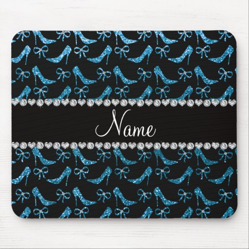 Personalized name sky blue glitter high heels bow mousepads