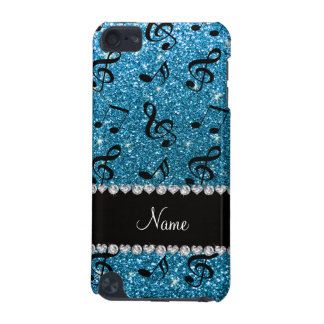 Personalized name sky blue glitter music notes iPod touch 5G cover