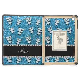 Personalized name sky blue glitter pandas iPad air covers