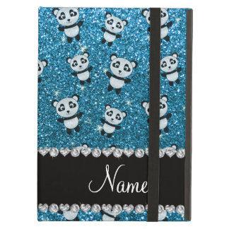 Personalized name sky blue glitter pandas cover for iPad air