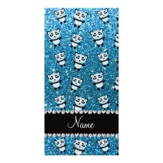 Personalized name sky blue glitter pandas photo card template