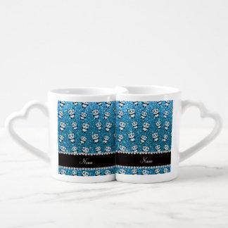 Personalized name sky blue glitter pandas lovers mug set