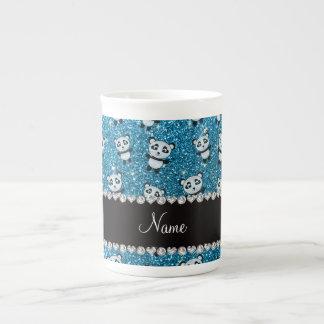 Personalized name sky blue glitter pandas porcelain mug