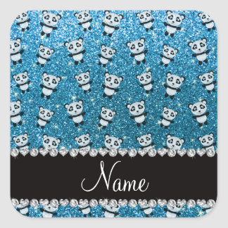 Personalized name sky blue glitter pandas square sticker
