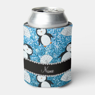 Personalized name sky blue glitter penguins igloos can cooler