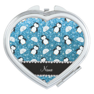 Personalized name sky blue glitter penguins igloos mirror for makeup