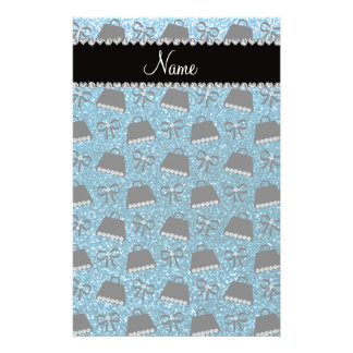 Personalized name sky blue glitter purses bow personalized stationery