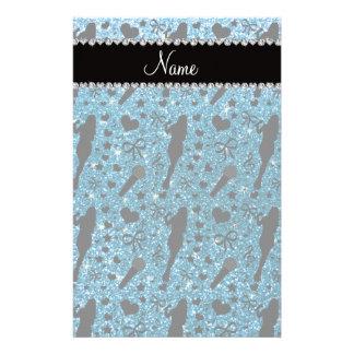 Personalized name sky blue glitter singer stationery design