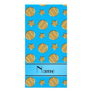 Personalized name sky blue gold baseballs stars photo card