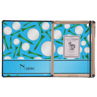 Personalized name sky blue golf balls tees cover for iPad