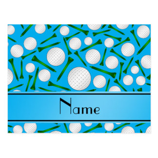 Personalized name sky blue golf balls tees postcards