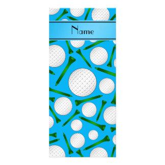 Personalized name sky blue golf balls tees custom rack card