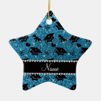 Personalized name sky blue graduation hearts bows ceramic star decoration