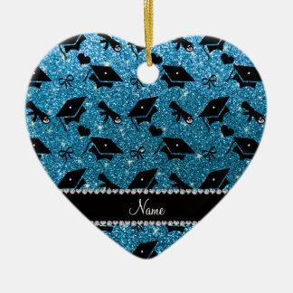 Personalized name sky blue graduation hearts bows ceramic heart decoration