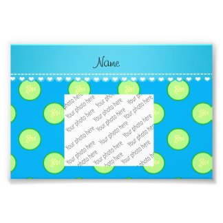 Personalized name sky blue green cucumber slice photograph