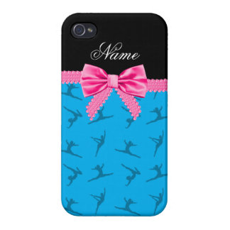 Personalized name sky blue gymnastics pink bow iPhone 4/4S covers