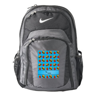 Personalized name sky blue hamburgers fries dots backpack