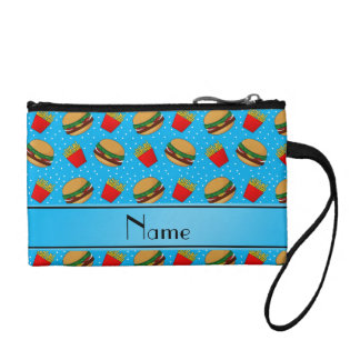 Personalized name sky blue hamburgers fries dots change purse