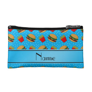 Personalized name sky blue hamburgers fries dots cosmetic bags
