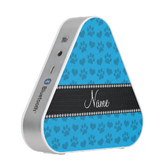 Personalized name sky blue hearts and paw prints bluetooth speaker