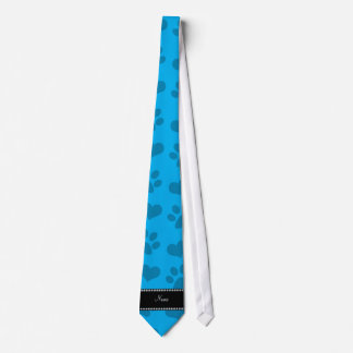 Personalized name sky blue hearts and paw prints neck tie