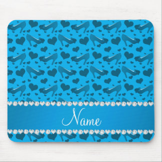 Personalized name sky blue hearts shoes bows mouse pad