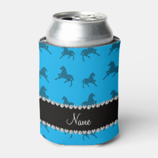 Personalized name sky blue horse pattern can cooler